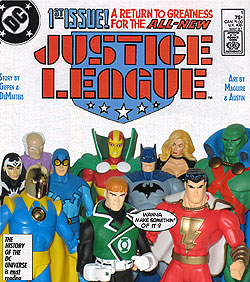 Justice League #1 reenactment with action figures